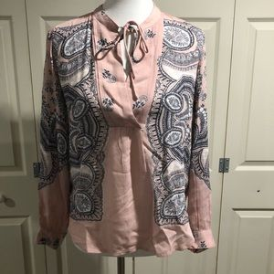 NWT Lucky Brand XS Pink Paisley Print Top
